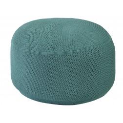 BOREK Crochette ronde poef blue slate = groenig