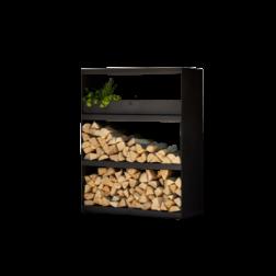 Ofyr wood storage Cabinet zwart gecoat staal