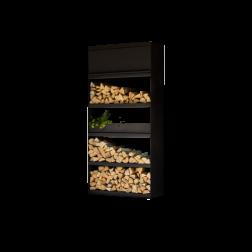 Ofyr wood storage zwart gecoat staal 100cm.