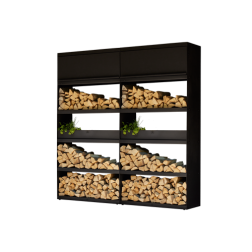 Ofyr wood storage zwart gecoat staal 200cm.