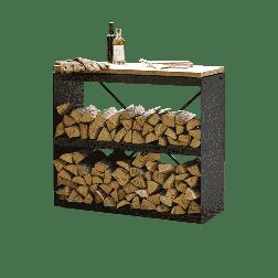 Ofyr wood storage dressoir zwart gecoat staal