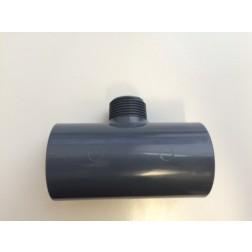 T-stuk verloop PVC 90° uitwendig schroefdraad